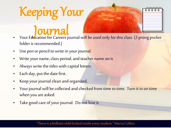 Keeping Your Journal