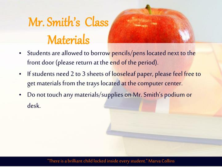 Mr. Smith's  Class Materials