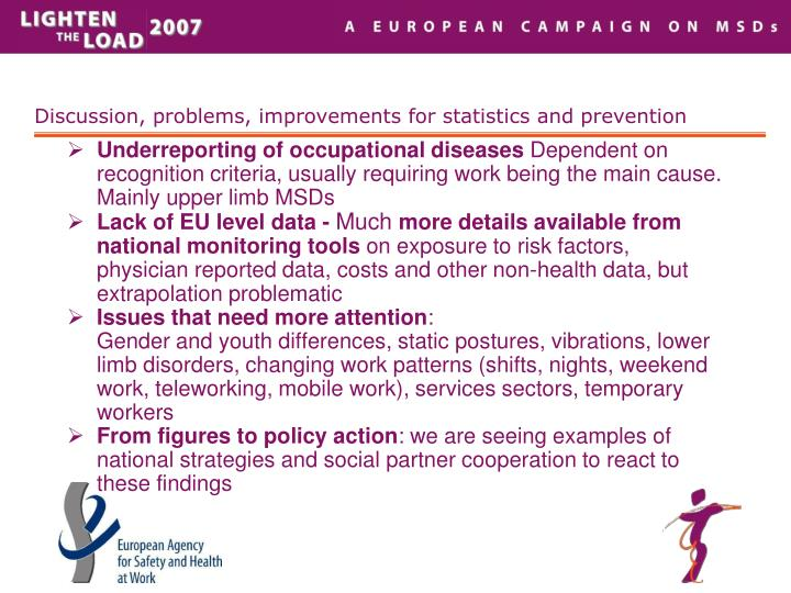 Discussion, problems, improvements for statistics and prevention