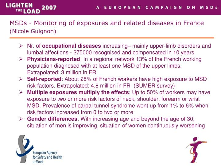 MSDs - Monitoring of exposures and related diseases in France