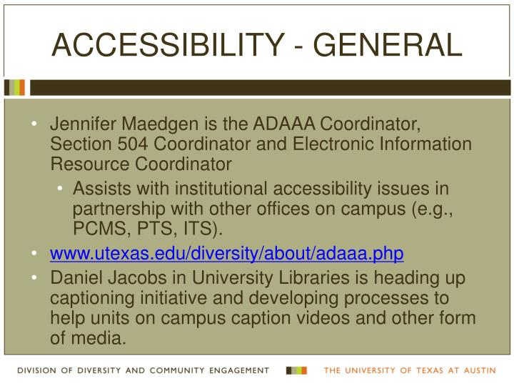 Accessibility - General