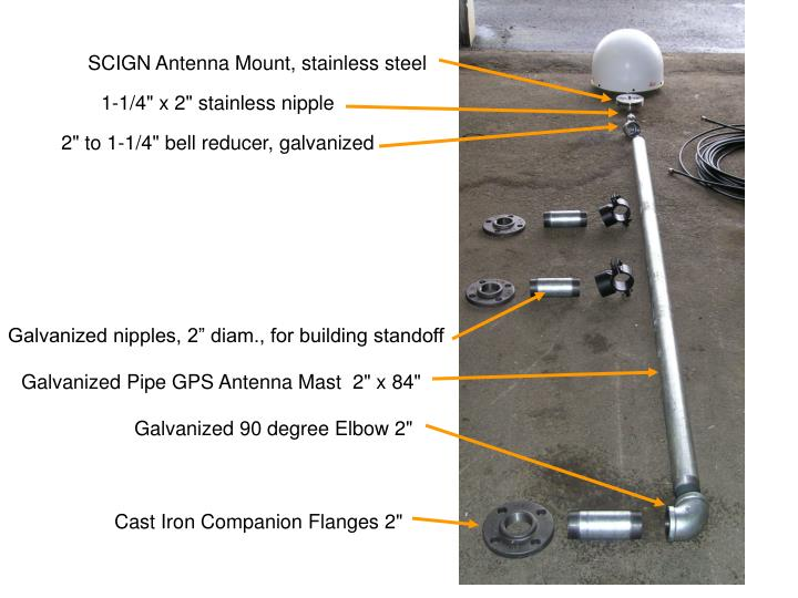 SCIGN Antenna Mount, stainless steel