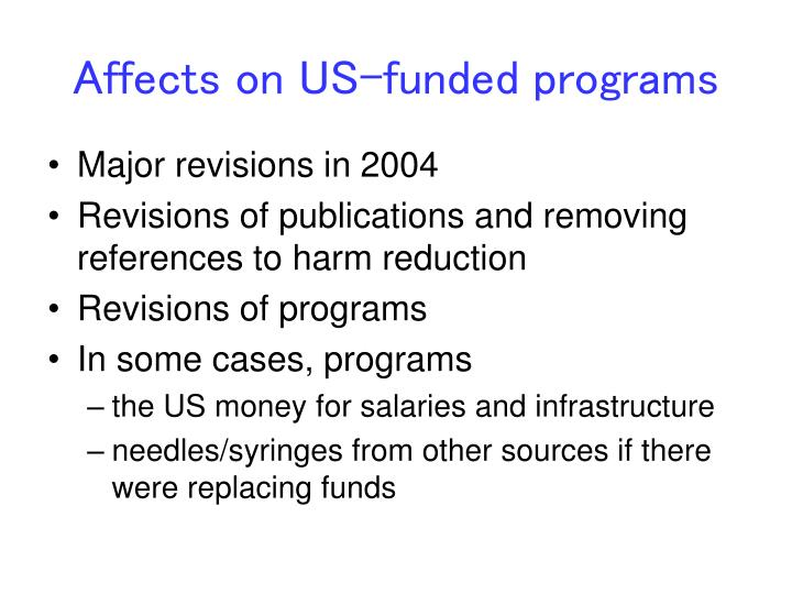 Affects on US-funded programs