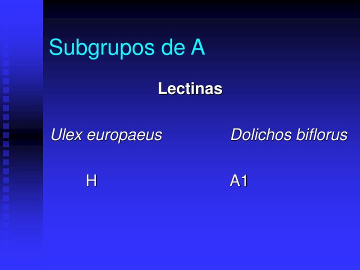 Subgrupos de A