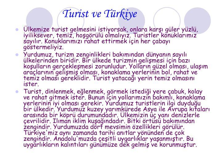 Turist ve Türkiye