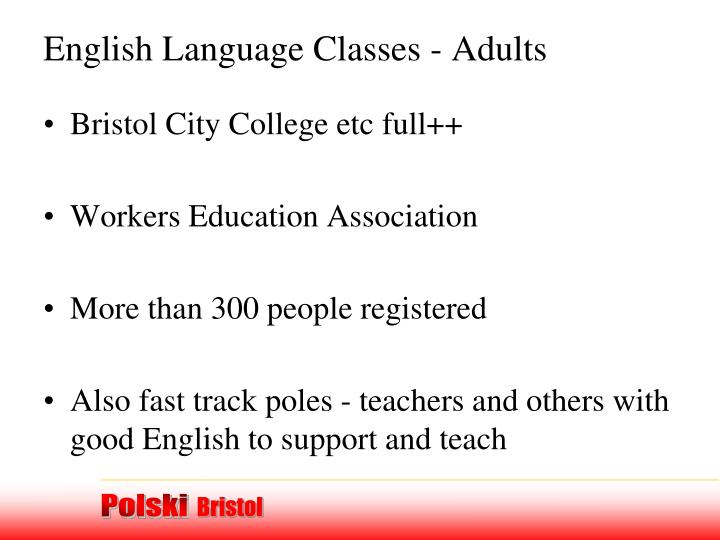 English Language Classes - Adults
