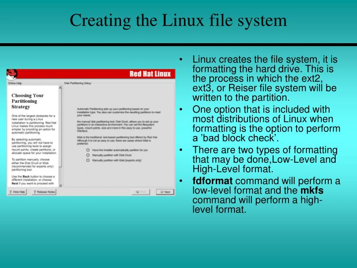 Creating the Linux file system