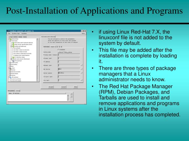 Post-Installation of Applications and Programs