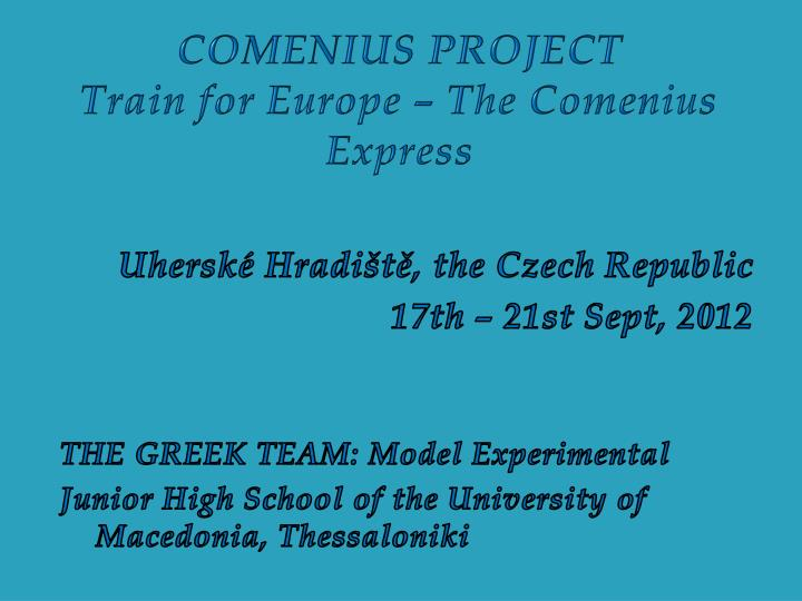 Comenius project train for europe the comenius express