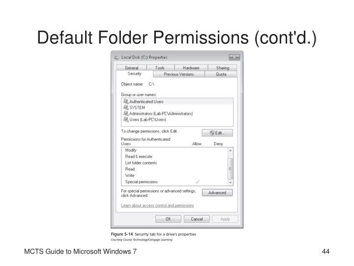 Default Folder Permissions (cont'd.)