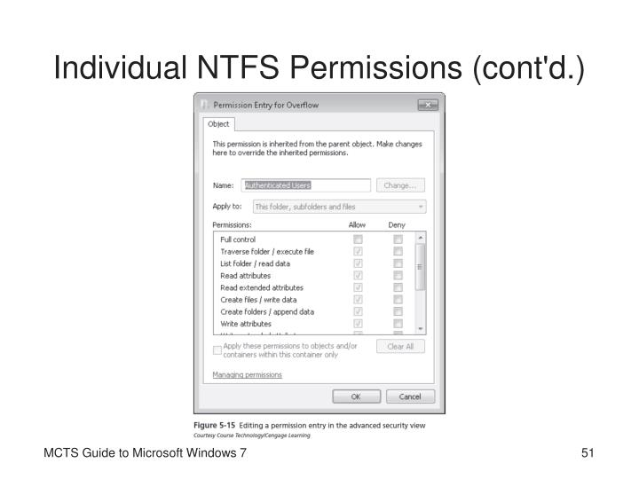 Individual NTFS Permissions (cont'd.)