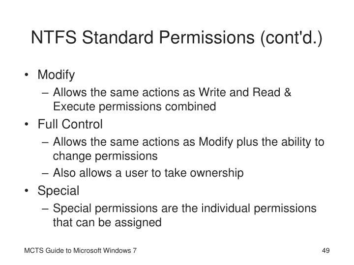 NTFS Standard Permissions (cont'd.)
