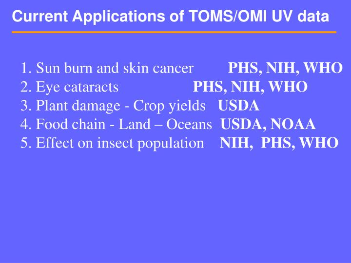 Current Applications of TOMS/OMI UV data