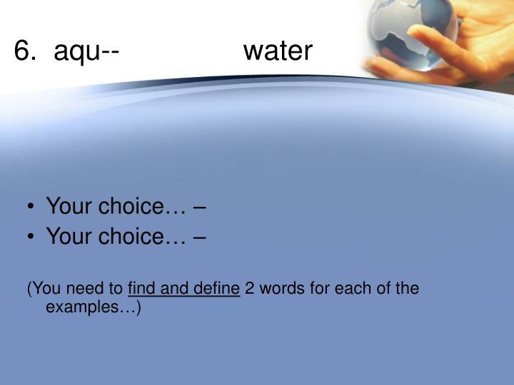 6.  aqu--   water