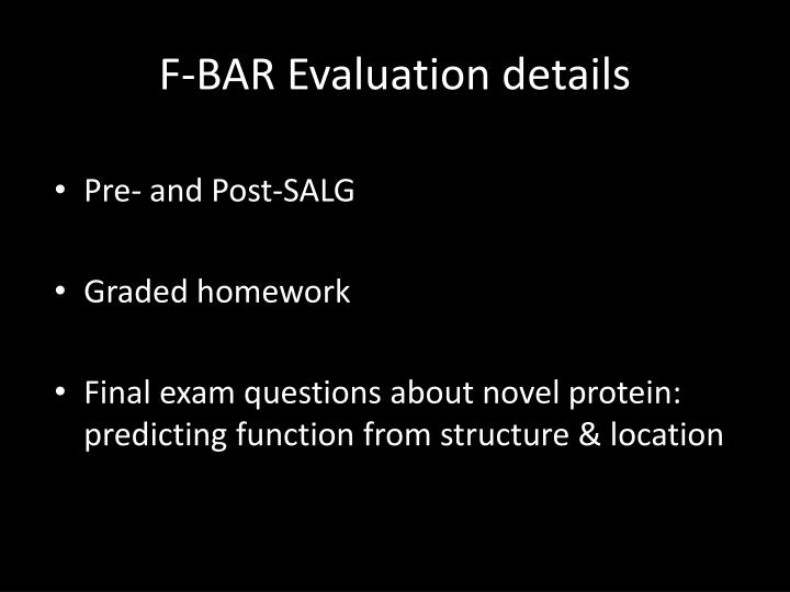 F-BAR Evaluation details