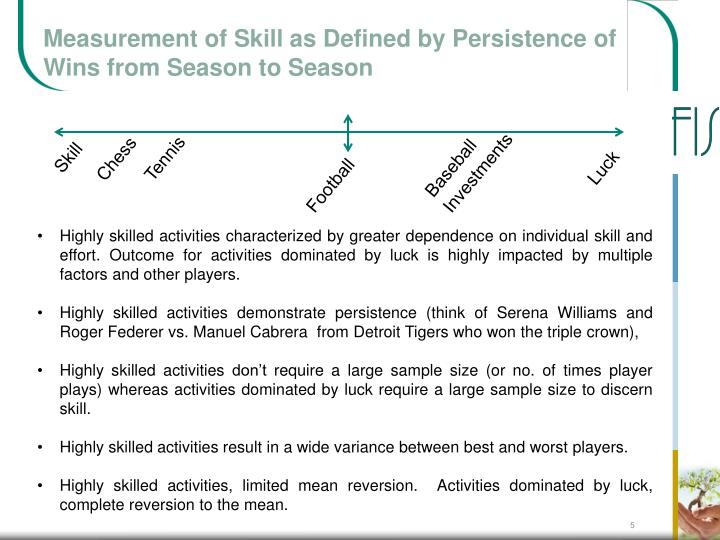 Measurement of Skill as Defined by Persistence of Wins from Season to Season