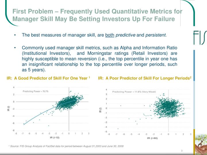 First Problem – Frequently Used Quantitative Metrics for Manager Skill May Be Setting Investors Up...