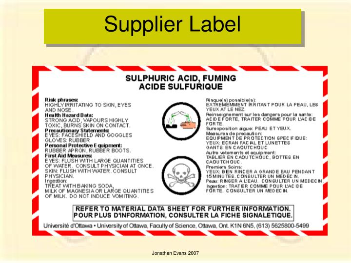 Supplier Label