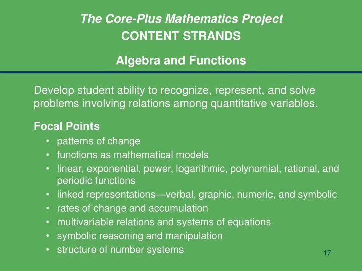The Core-Plus Mathematics Project