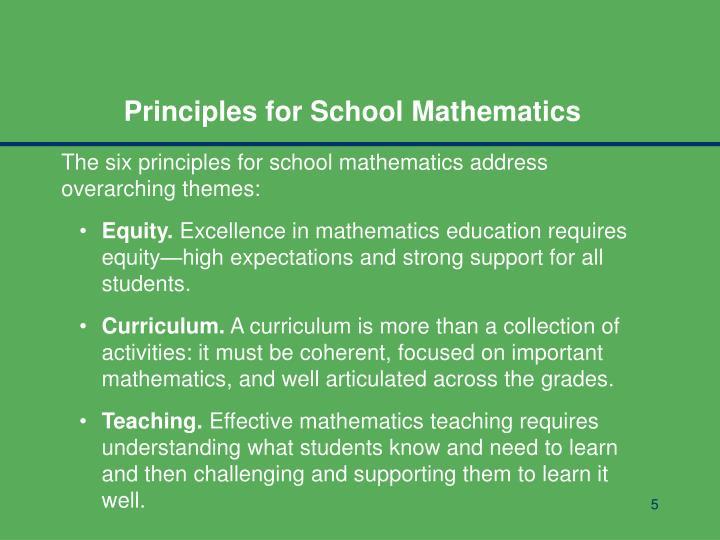 Principles for School Mathematics