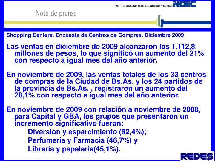 Shopping Centers. Encuesta de Centros de Compras. Diciembre 2009