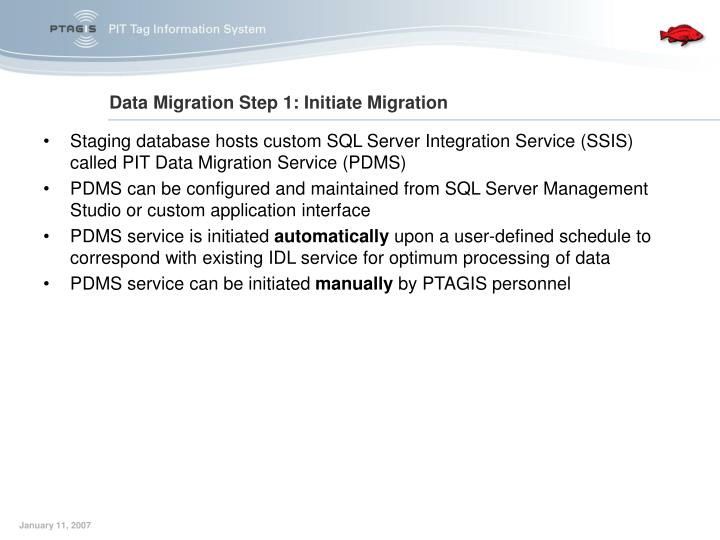 Staging database hosts custom SQL Server Integration Service (SSIS) called PIT Data Migration Service (PDMS)