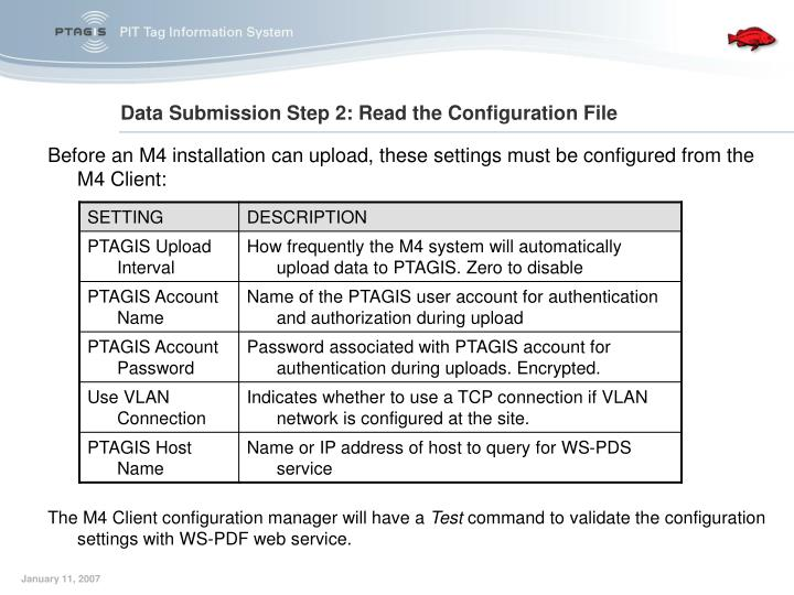 Data Submission Step 2: Read the Configuration File