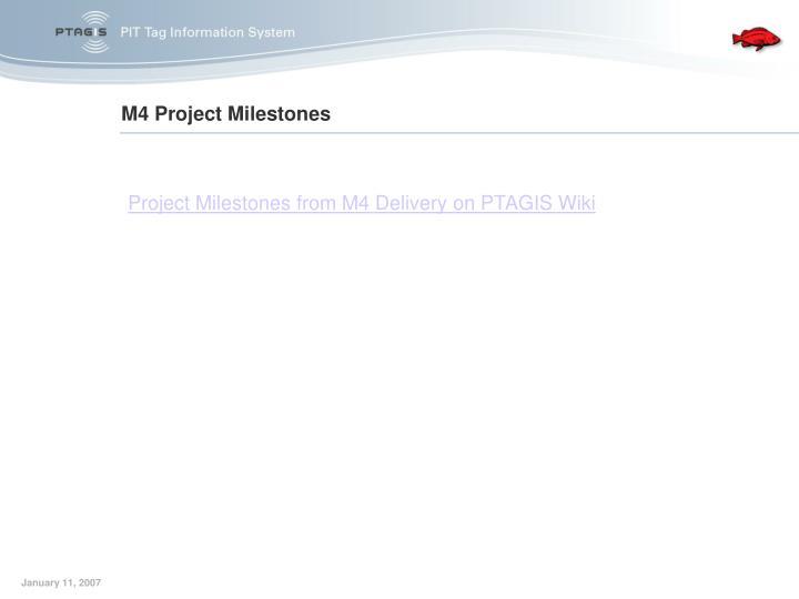 M4 Project Milestones