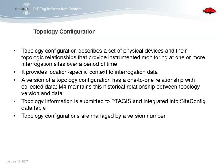 Topology configuration describes a set of physical devices and their topologic relationships that provide instrumented monitoring at one or more interrogation sites over a period of time