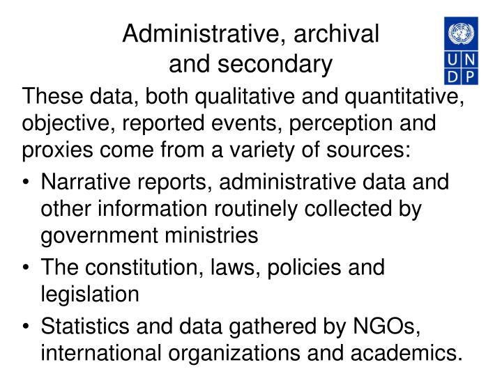 Administrative, archival