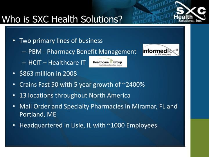 Who is sxc health solutions