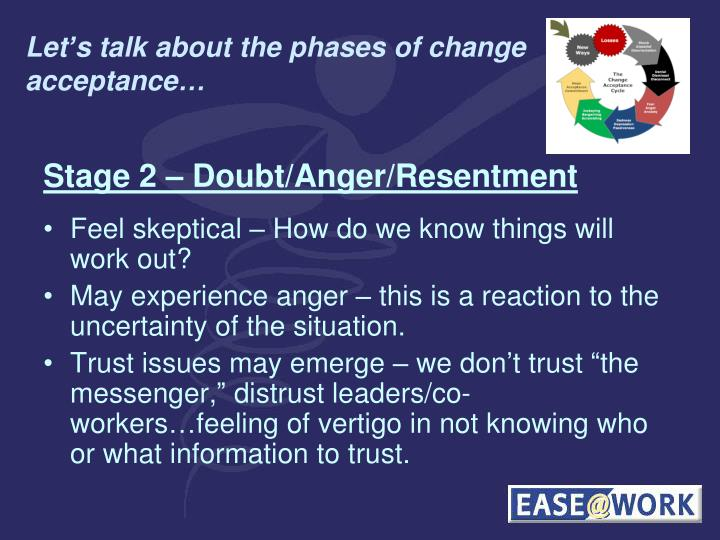 Let's talk about the phases of change acceptance…