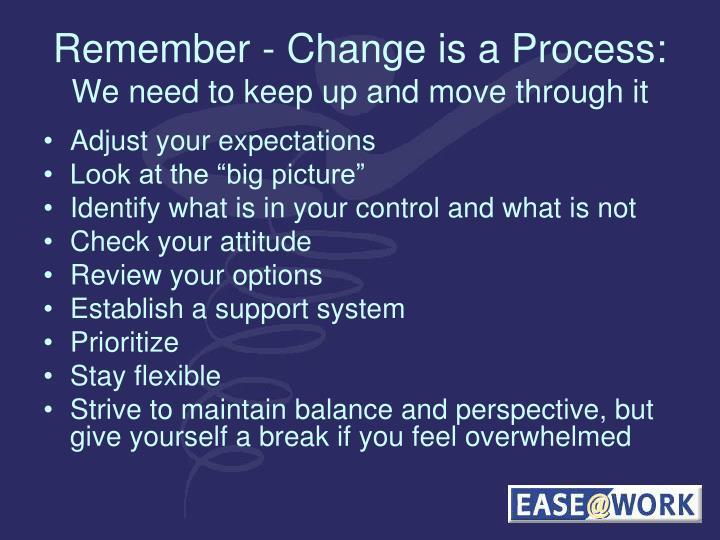 Remember - Change is a Process: