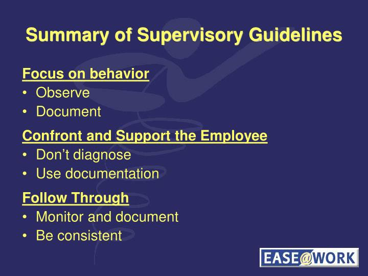 Summary of Supervisory Guidelines