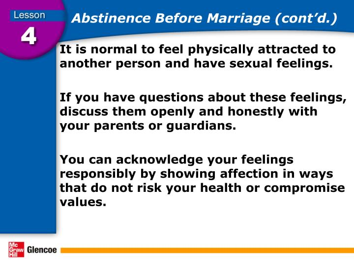 Abstinence Before Marriage (cont'd.)