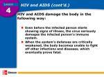 hiv and aids cont d
