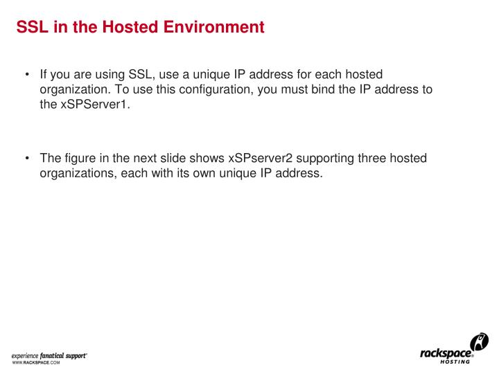 SSL in the Hosted Environment