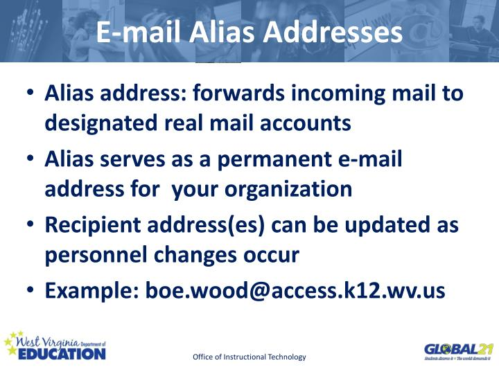 E mail alias addresses