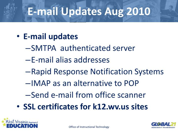 E mail updates aug 2010