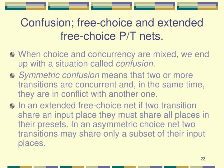 Confusion; free-choice and extended free-choice P/T nets.