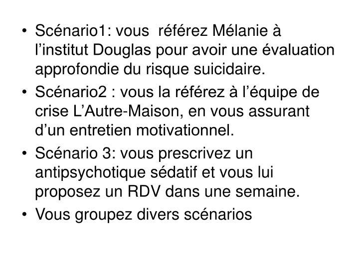 Scénario1: vous  référez Mélanie à l'institut Douglas pour avoir une évaluation approfondie du risque suicidaire.