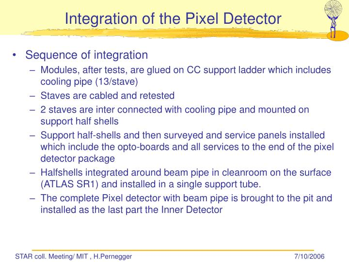 Integration of the Pixel Detector