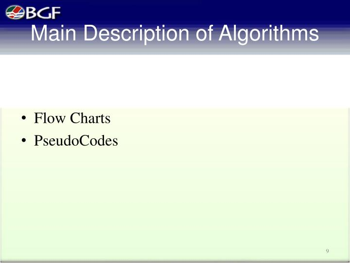 Main Description of Algorithms