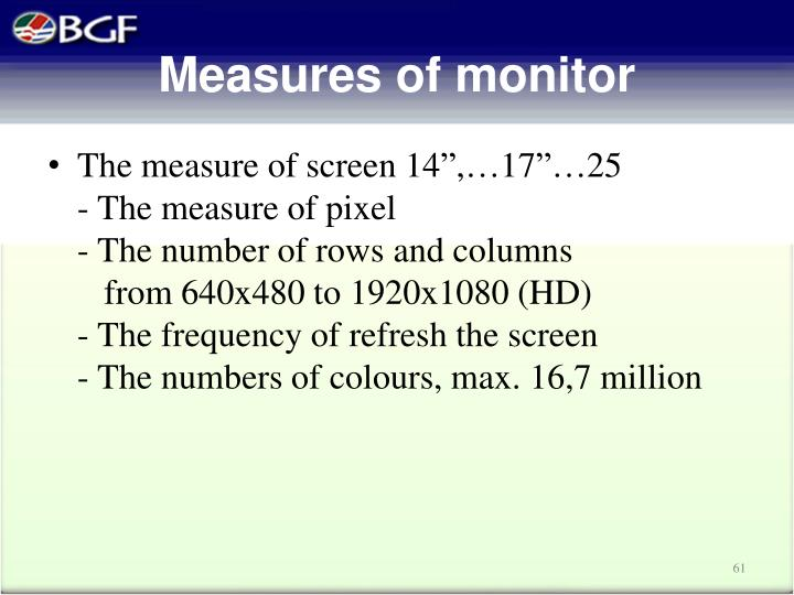 Measures of monitor
