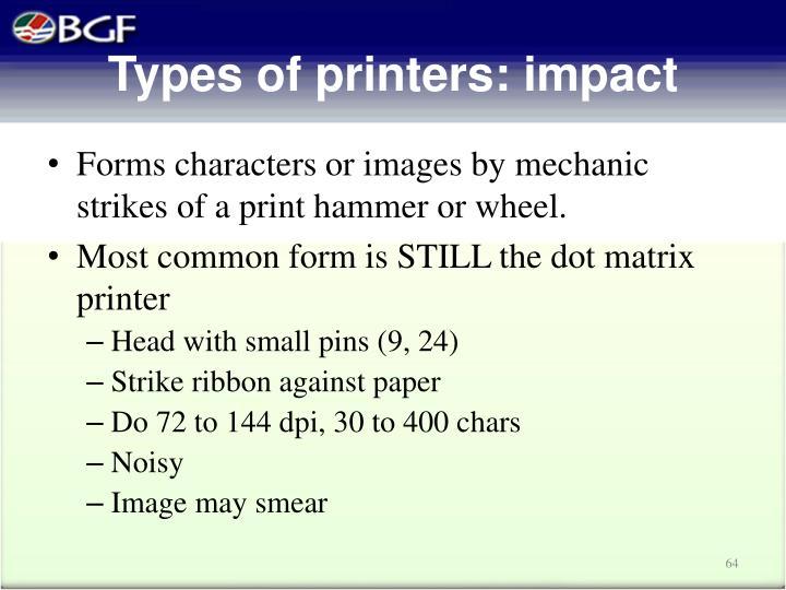 Types of printers: impact