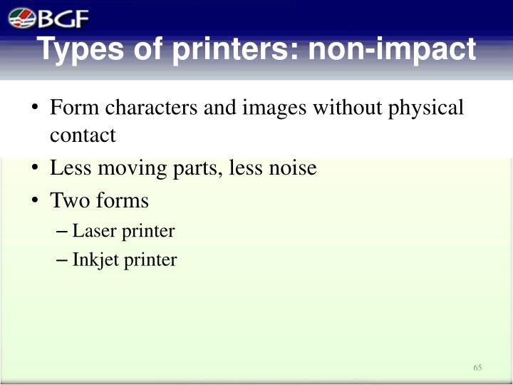 Types of printers: non-impact