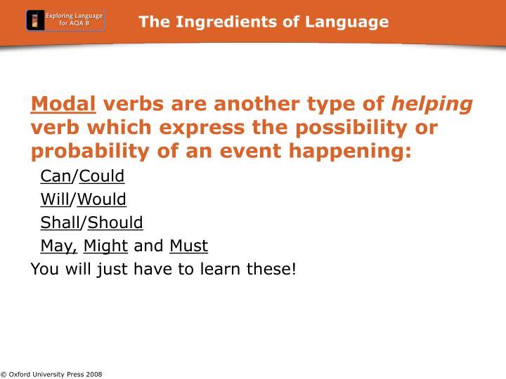 The Ingredients of Language