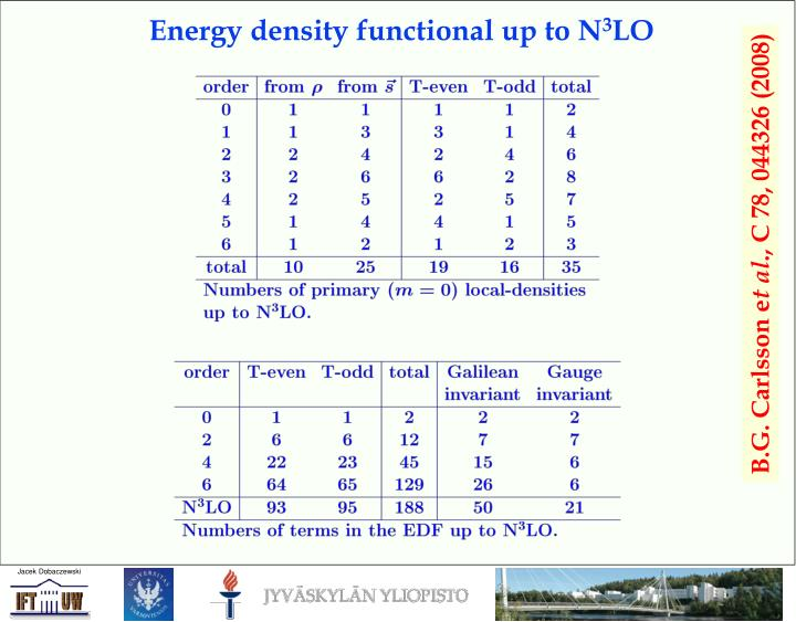 Energy density functional up to N