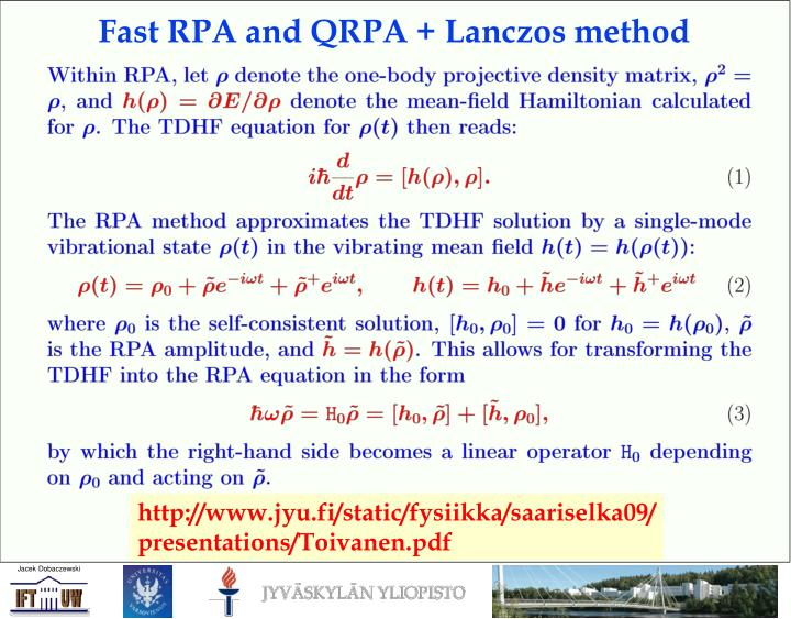 Fast RPA and QRPA + Lanczos method