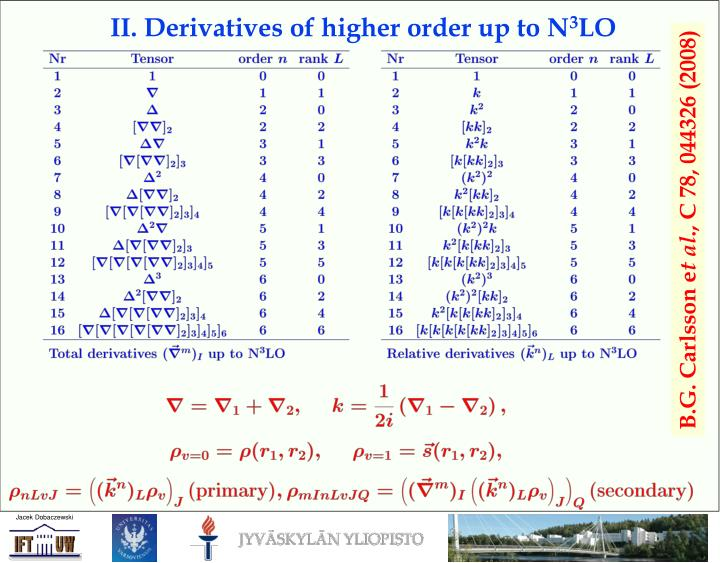 II. Derivatives of higher order up to N